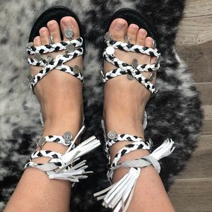 Pretty Little Thing Tie Up Coin Sandals